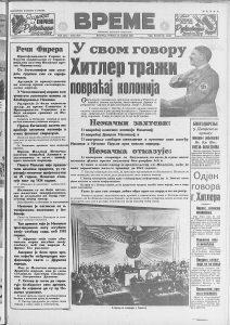 Kako su jugoslovenski listovi 1939. izveštavali o Hitlerovom velikom govoru? 2