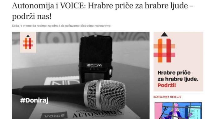 Autonomija i VOICE pokrenuli opciju za donacije čitalaca 1