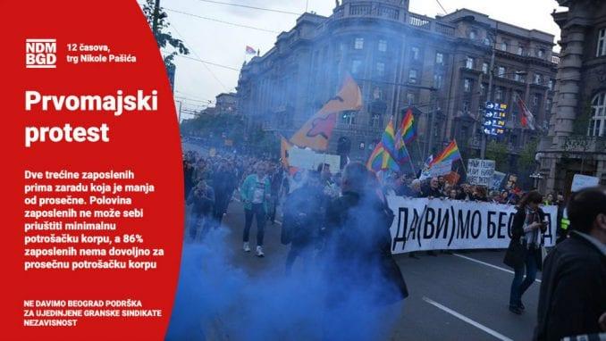 NDBG: Podrška sindikatima i Prvomajskom protestu 1