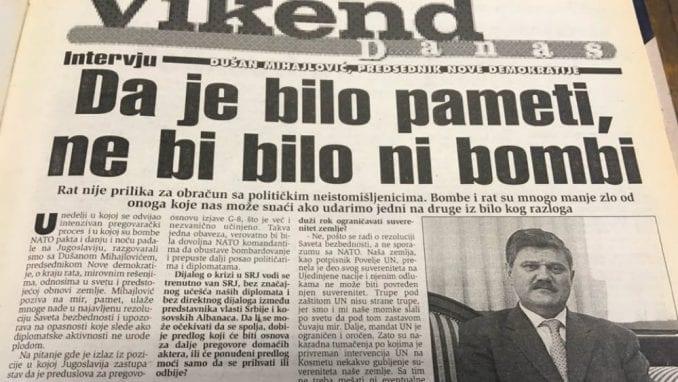 Dušan Mihajlović (1999): Da je bilo pameti ne bi bilo bombi 1
