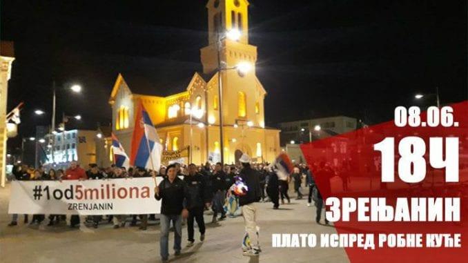 """Zrenjanin: Novi protest """"1 od 5 miliona"""" 8. juna 2"""