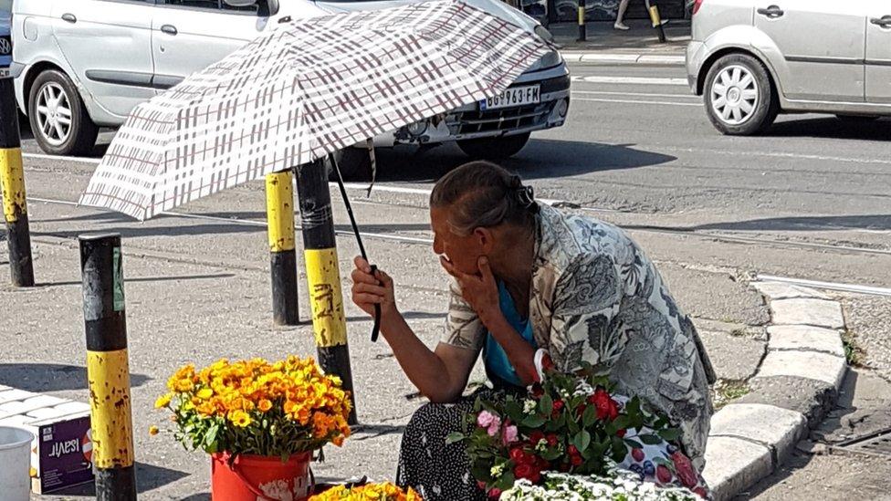 Prodavac cveća na Bajlonijevoj pijaci