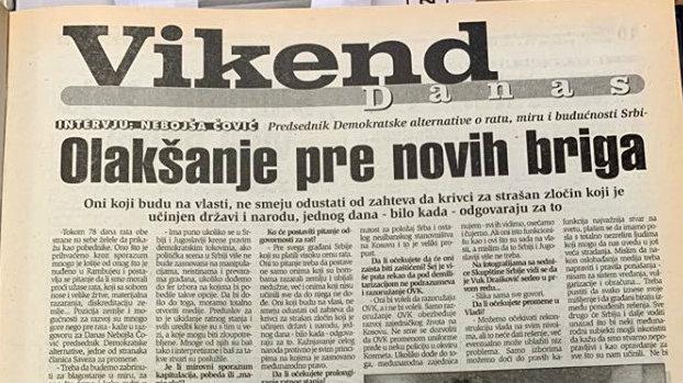 Nebojša Čović (1999): Bombardovanje je moglo biti izbegnuto 1