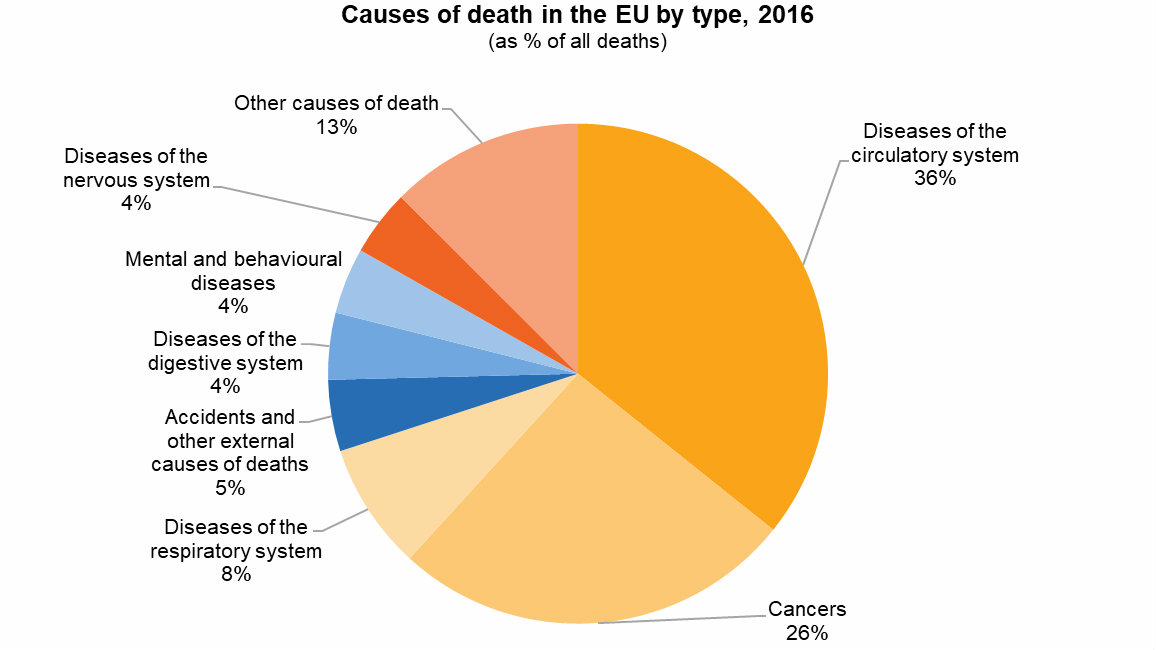 Rak, srčani i moždani udar glavni uzroci smrti u zemljama EU 2