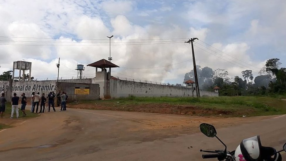 A handout photo made available by XINGU 230 shows a group of journalist waiting outside of a prison in Altamira, state of Para, Brazil, 29 July 2019