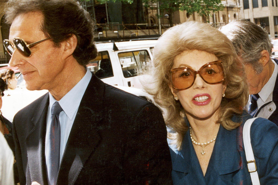 Anne Hamilton-Byrne and her husband arriving at court in Melbourne in 1993