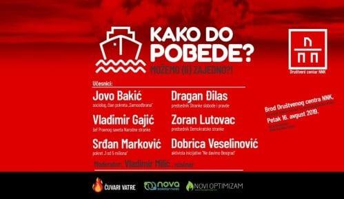 "Bakić, Đilas, Lutovac, Gajić, Marković i Veselinović na tribini ""Kako do pobede"" 13"