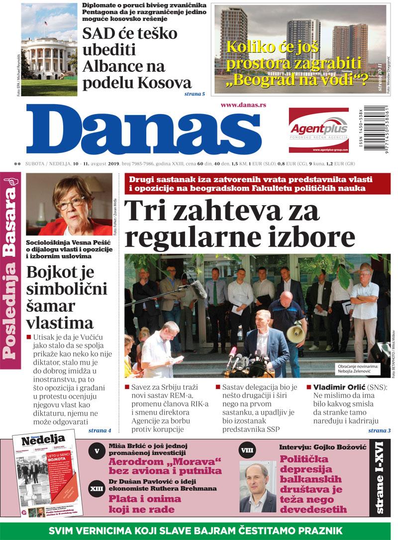 Naslovna za 10. avgust 2019. 1