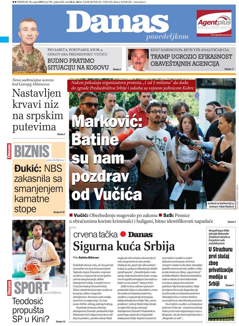 Naslovna za 12. avgust 2019. 1