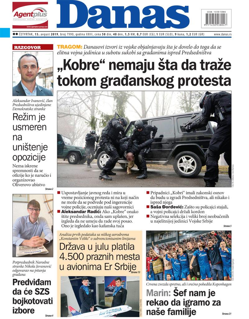 Naslovna za 15. avgust 2019. 1