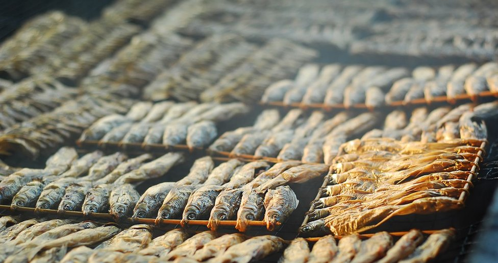Traditional Thai smoked dried fish, to preserve food.
