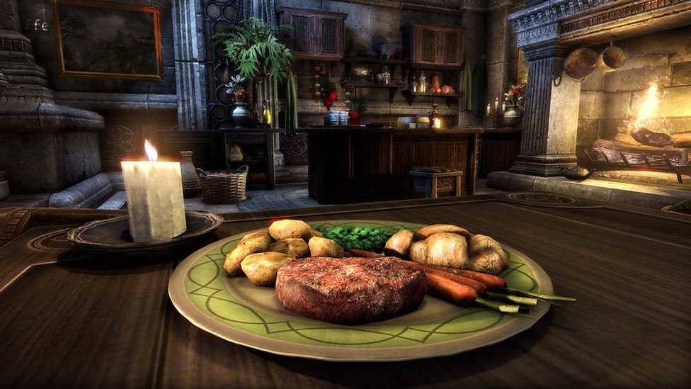 A screen shot of a steak from the video game Elder Scrolls - there's a candle on the table, and a fireplace in the background