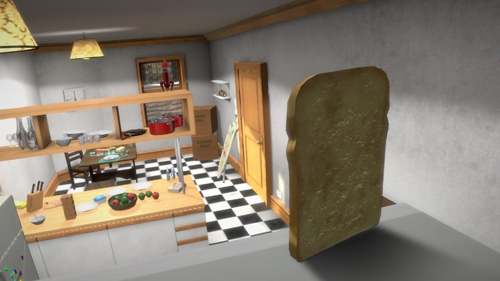 A giant slice of bread walking into a kitchen