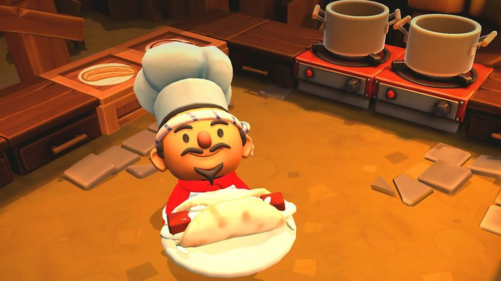 Overcooked's chef turning over a burrito in a kitchen