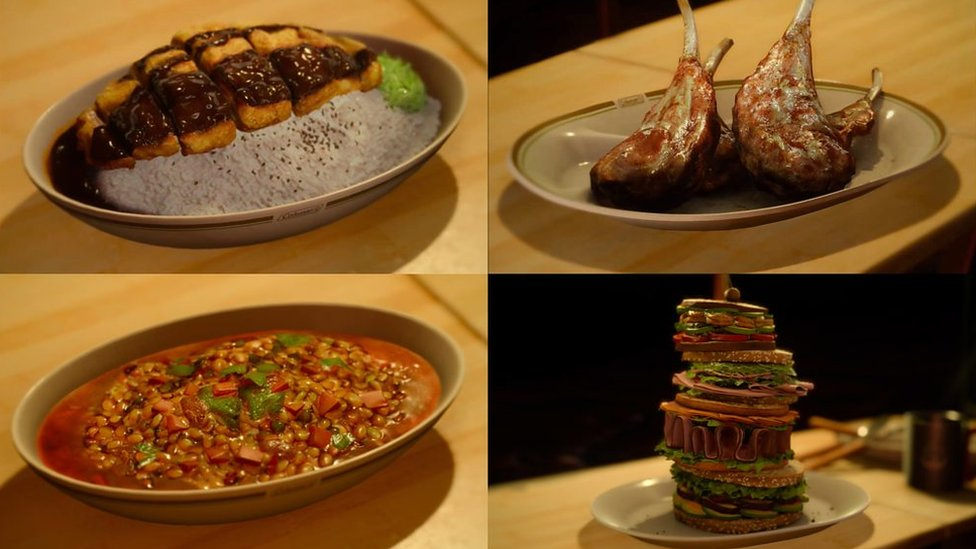 Four meal examples from Final Fantasy: some rice, roasted lamb, a lentil stew, and a giant burger with all the trimmings.