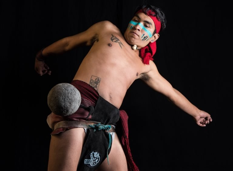 """Mexican Uriel Ordaz, player of a pre-Columbian ballgame called """"Ulama"""", in Mexico City on August 21, 2019"""