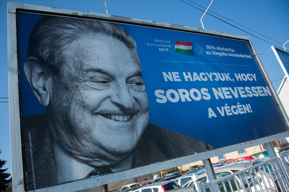 A billboard tells Hungarians not to let Soros have the last laugh