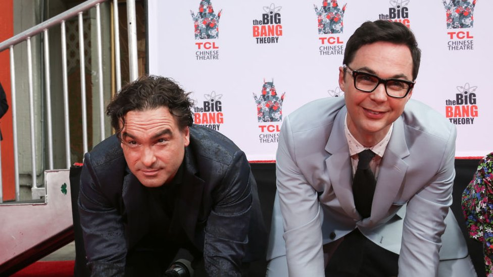 Big Bang Theory actors Johnny Galecki (left) and Jim Parsons during a ceremony