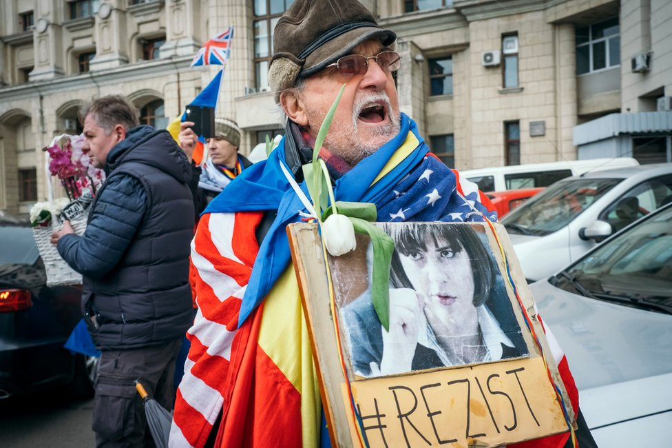 A supporter of Laura Codruta Kovesi, the former chief of Romania's National Anticorruption Directorate (DNA), 15 February 2019