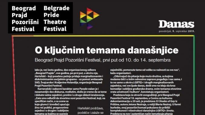 Specijalni dodatak lista Danas o Beograd Prajd Pozorišnom Festivalu (PDF) 1
