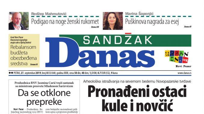 Sandžak Danas – 27. septembar 2019. 1