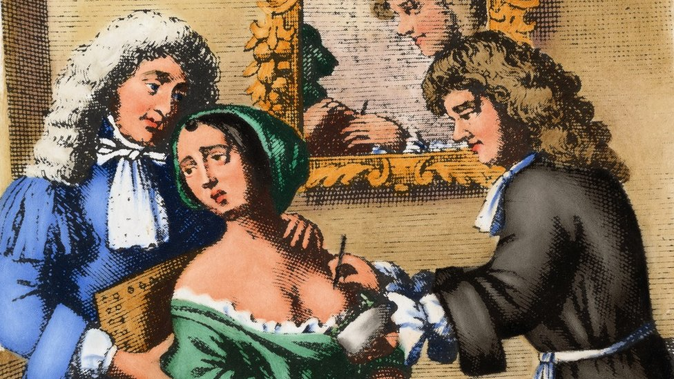 A 17th century surgeon performs a mastectomy on a woman. After an engraving in John Brown's