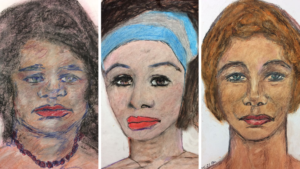 Portraits by Samuel Little of three of his victims