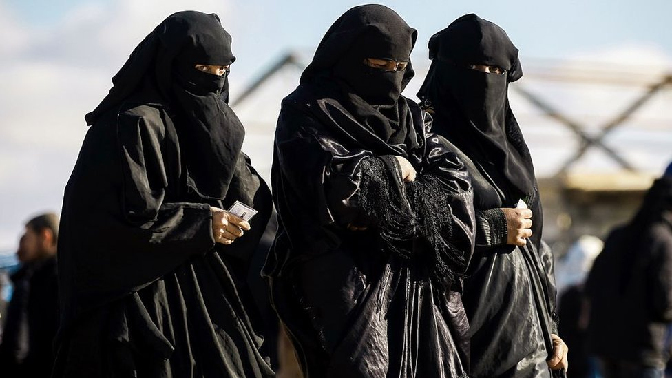 A group of women in al-Hol camp for Islamic State detainees in Syria