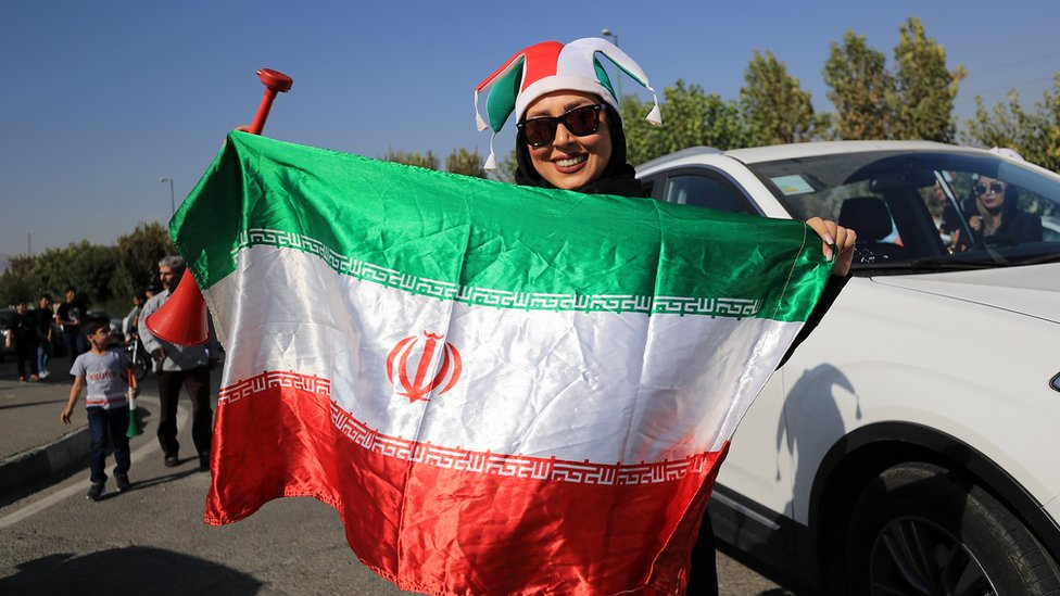 Female football fans show their support ahead of the FIFA World Cup Qualifier match between Iran and Cambodia at Azadi Stadium on 10 October, 2019 in Tehran, Iran.