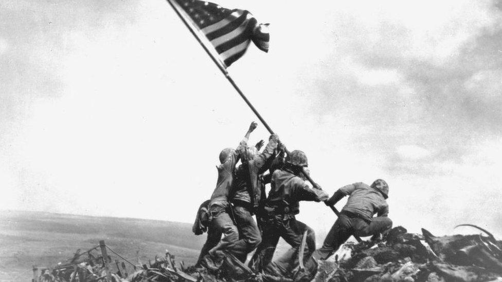 the flag raising over Iwo Jima