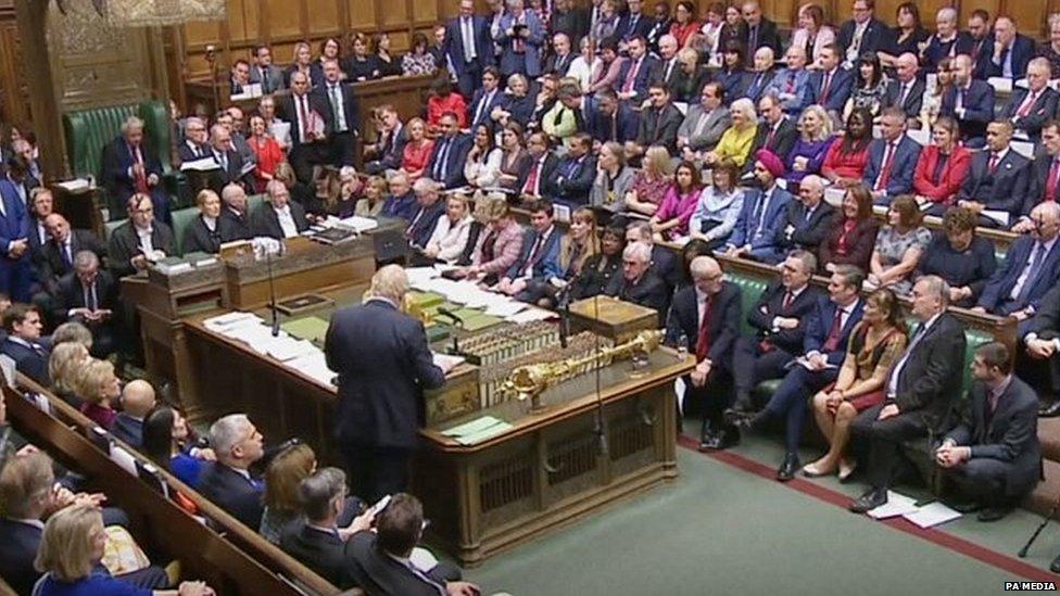 Boris Johnson addressing MPs