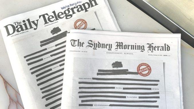 """Australija i mediji: Novine zatamnile naslovne strane protestujući protiv """"tajnosti"""" 3"""