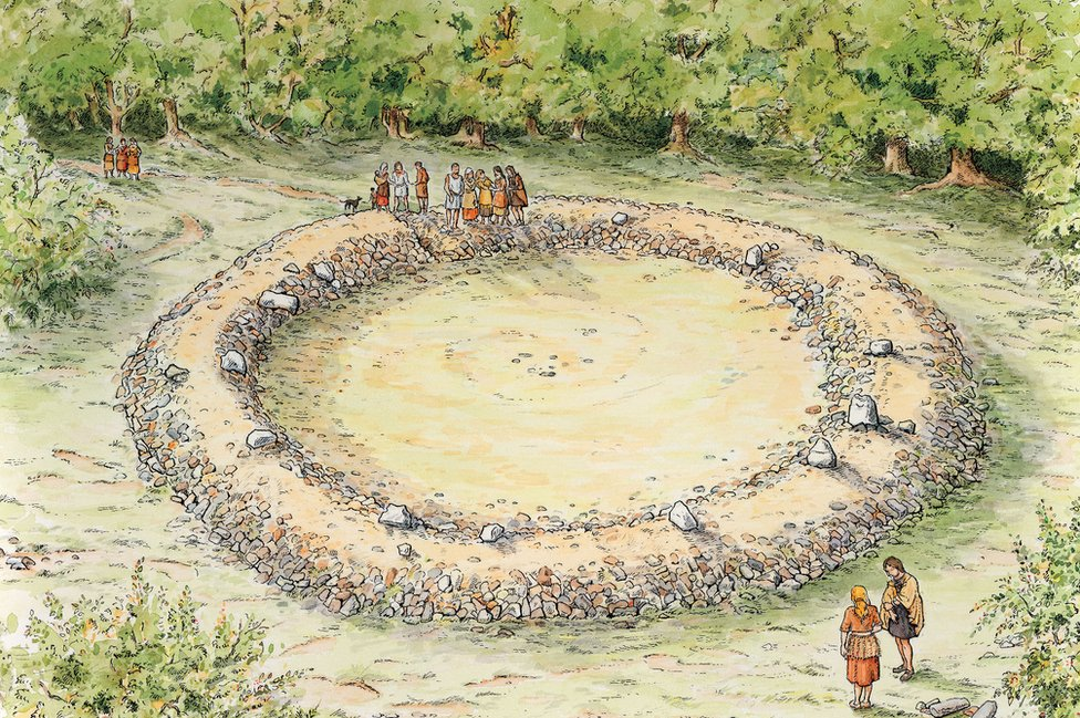 Artist's reconstruction of ring cairn