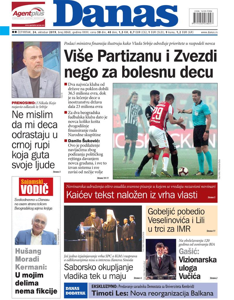 Naslovna za 24. oktobar 2019. 1