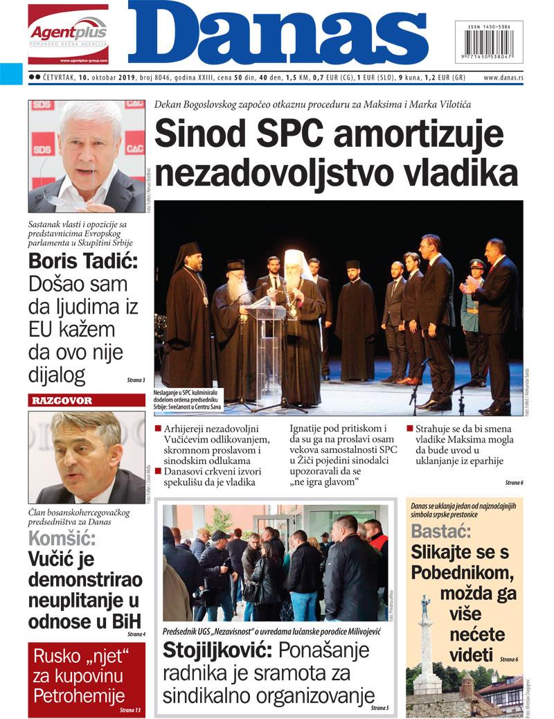 Naslovna strana za 10. oktobar 2019. 1