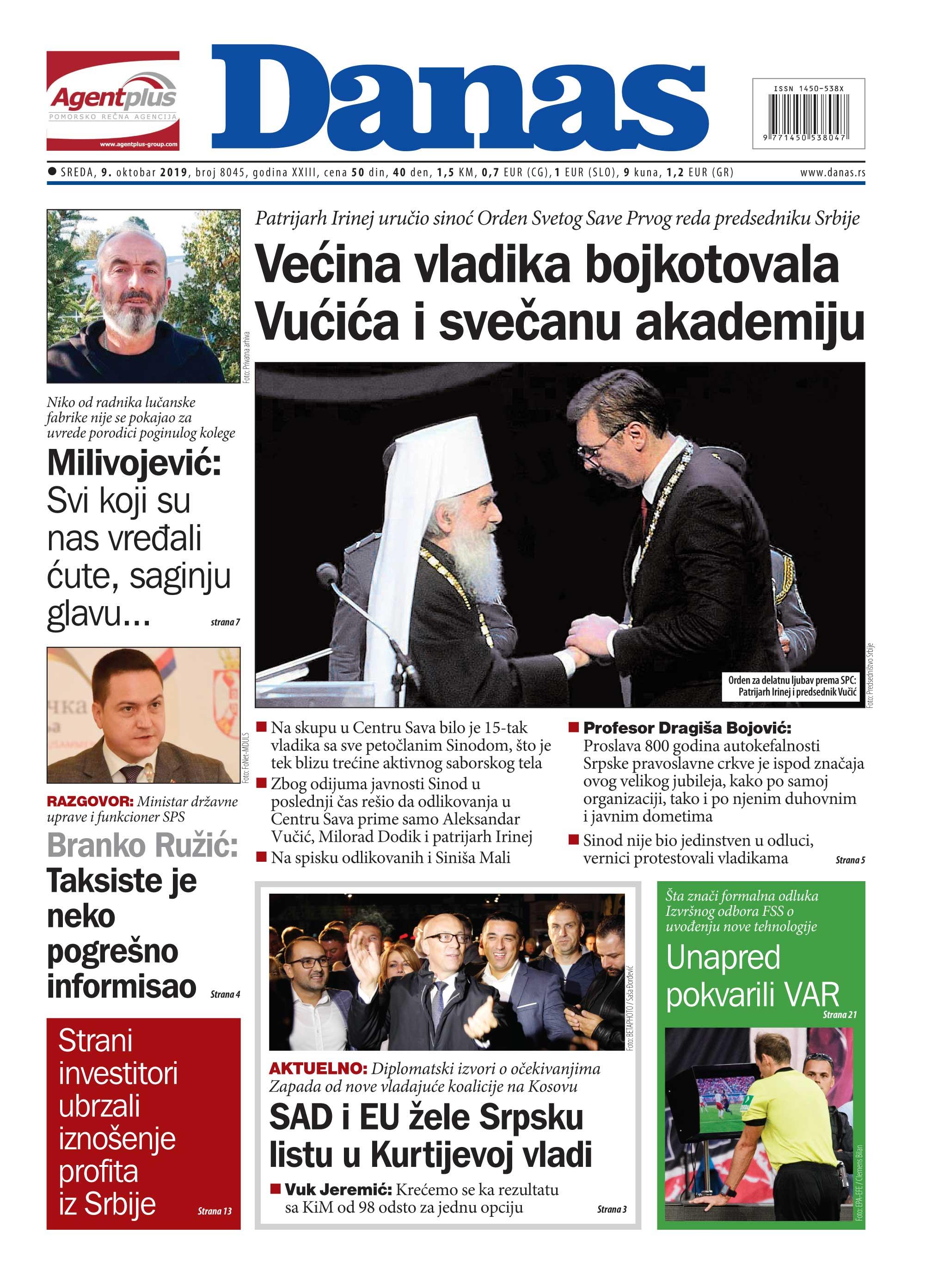 Naslovna strana za 09. oktobar 2019. 1