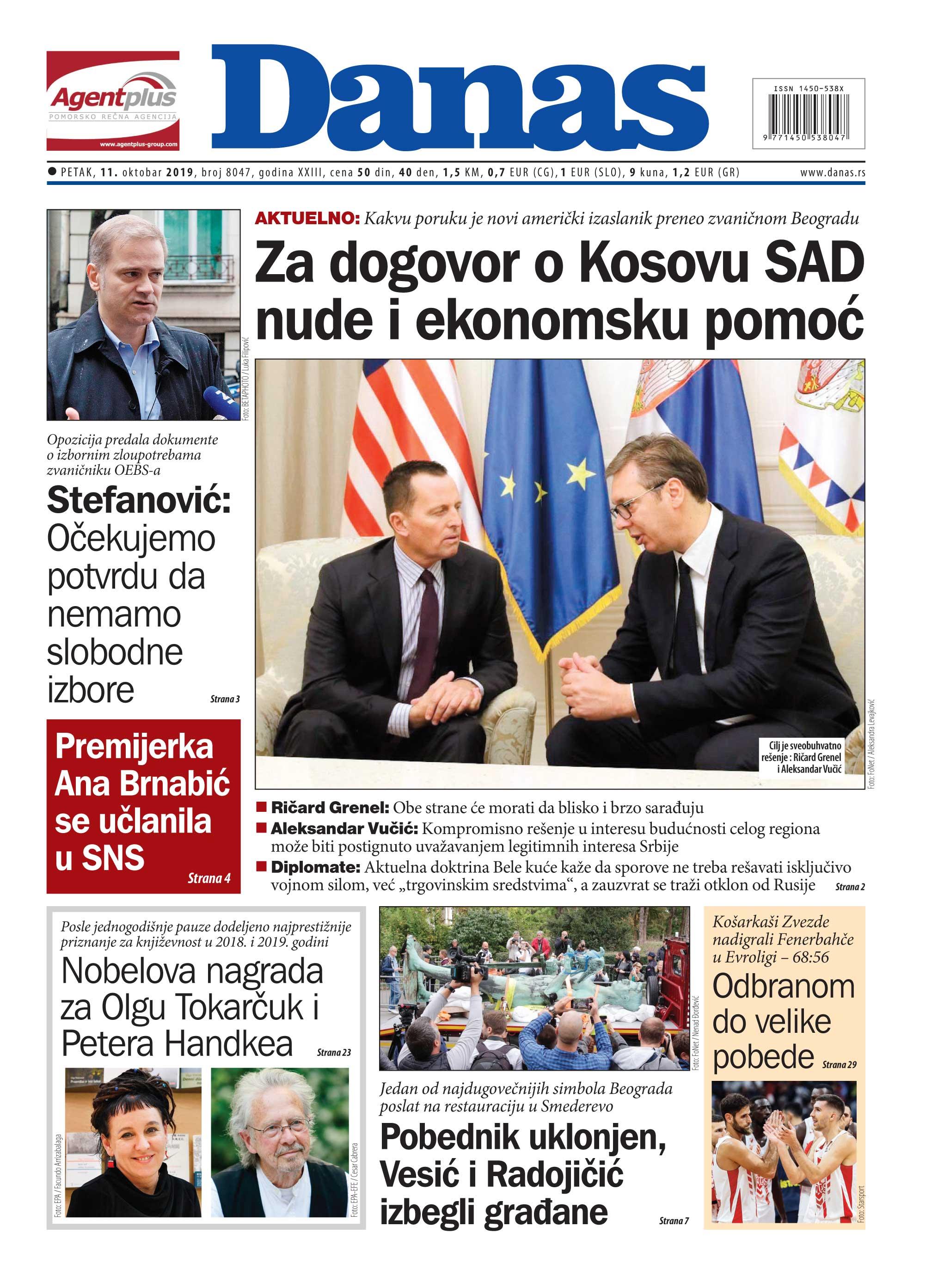 Naslovna strana za 11. oktobar 2019. 1