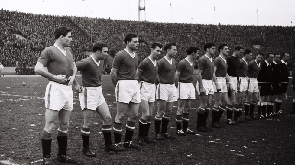 The Busby Babes line up for what would be their final ever match - versus Red Star Belgrade in the quarter-final of the European Cup in 1958.