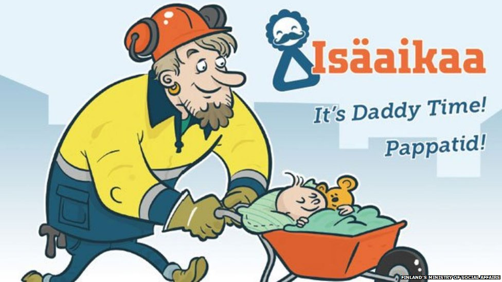 Cartoon of a dad with his baby