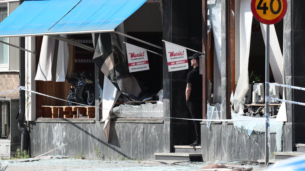 A damaged building that was hit by an explosion on early, June 7, 2019 is seen in Linkoping, central Sweden.