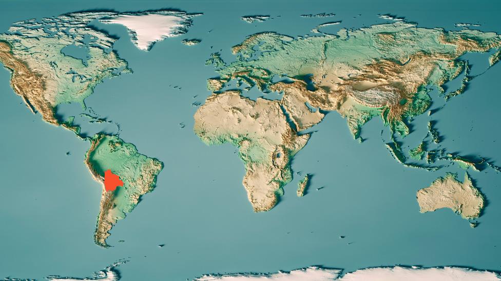 mapa sveta s bolivijom