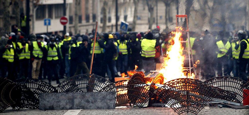 Yellow vest protest in Paris, 8 Dec 18