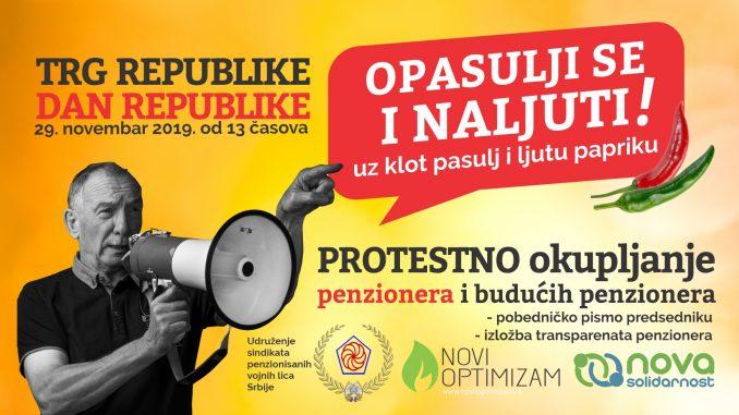 """Opasulji se i naljuti"" protestno okupljanje penzionera na Trgu republike 29. novembra 2"