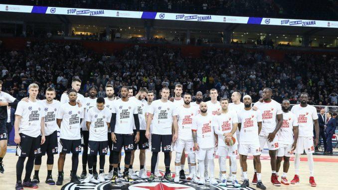 """Košarkaši Zvezde i Partizana na parket izašli u majicama """"Stop nasilju nad ženama"""" 1"""