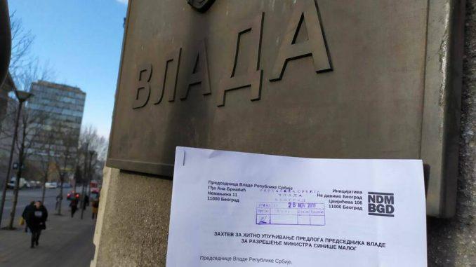 Inicijativa Ne davimo Beograd predala zahtev Vladi za razrešenje Siniše Malog 2
