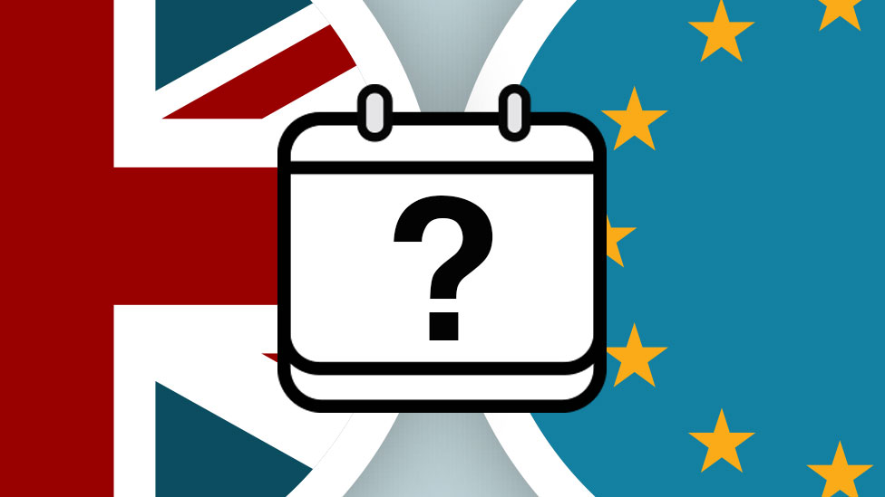 Brexit promo image shows UK and EU flags with ? in the middle