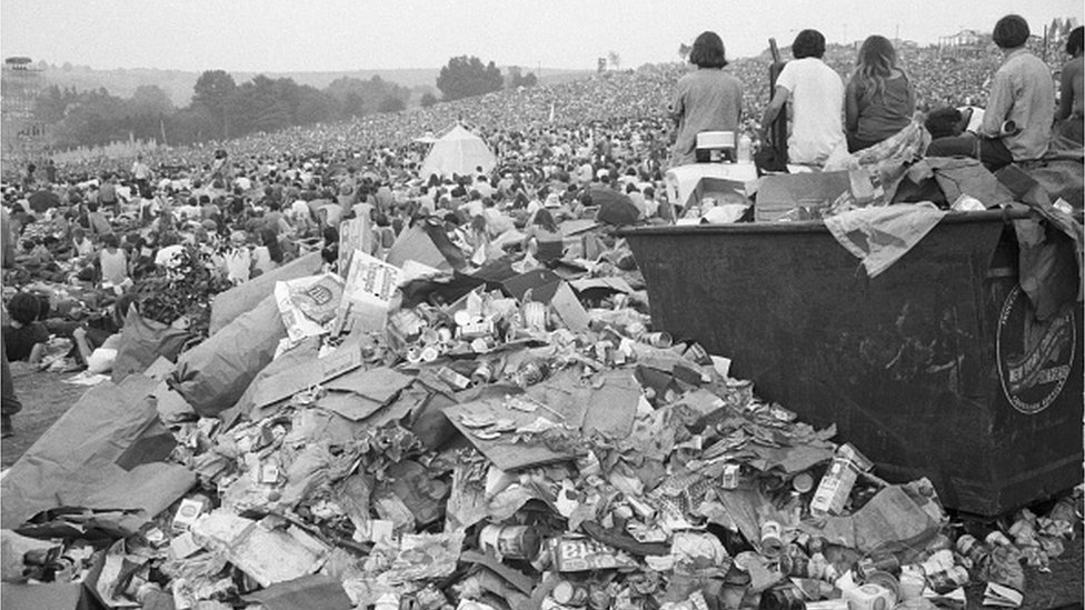 Pile of rubbish at the 1969 Woodstock Festival
