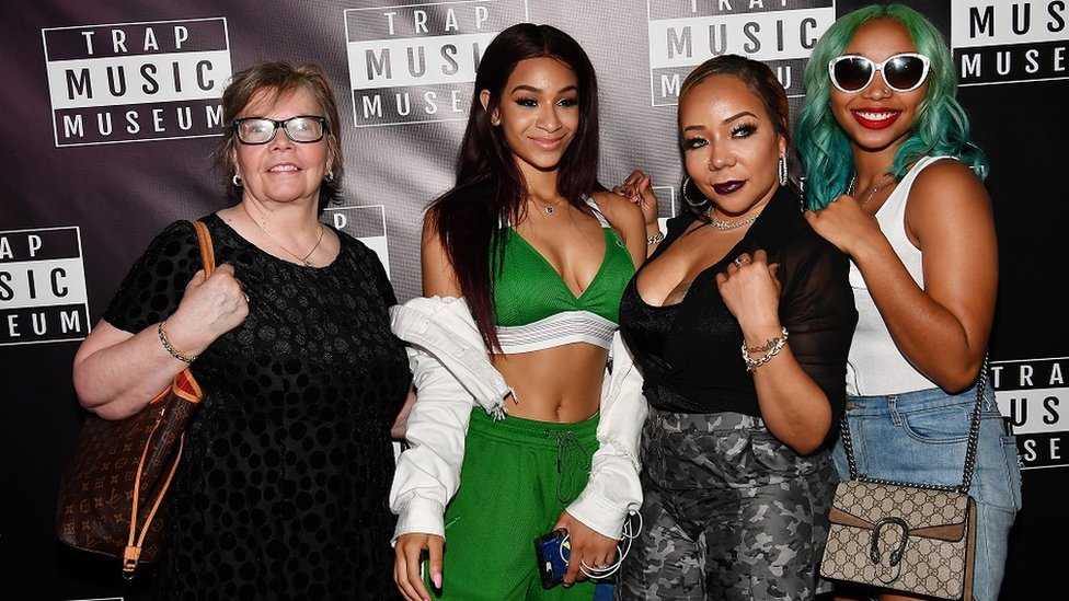 """From left to right: Diane Cottle-Pope, Deyjah Harris, Tameka """"Tiny"""" Harris, and Zonnique Pullins attend Trap Music Museum VIP Preview at Trap Music Museum"""