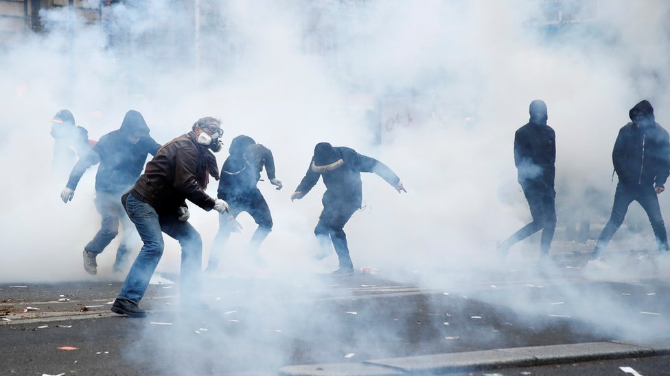 Police have fired tear gas in Paris