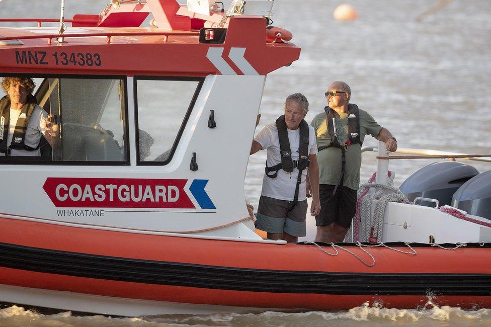 Coastguard rescue boats are pictured alongside the marina near Whakatane